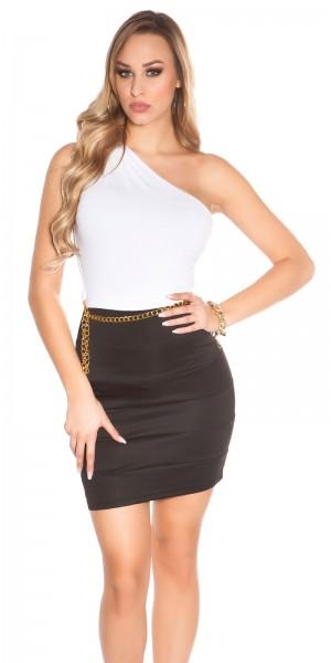 Sexy KouCla One-Shoulder Minikleid mit Gürtel