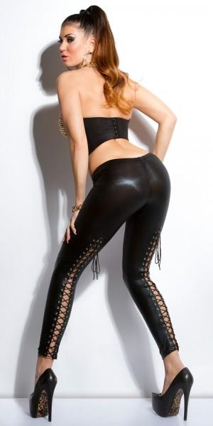 Sexy KouCla Wetlook Leggings mit Schnürung