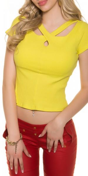 Trendy basic Rippshirt mit raffiniertem Ausschnitt