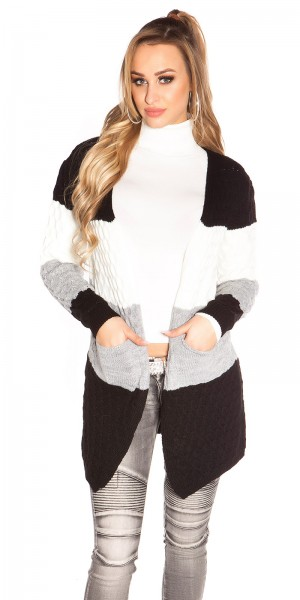 Trendy KouCla Strickjacke gestreift