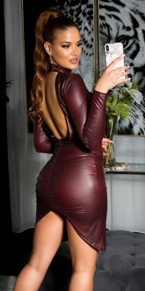 Sexy KouCla Wetlook Minikleid sexy Rückenansicht