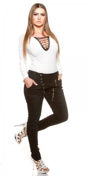 Curvy Girls Size! Skinnies mit Knopfleiste und Zip