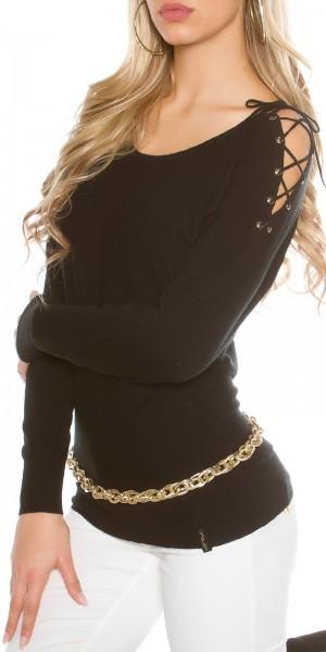 Sexy KouCla Pullover mit Schulterschnürung