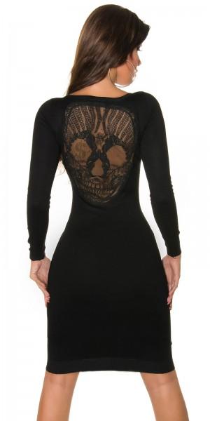 Trendy Koucla Feinstrick- Kleid mit Totenkopf