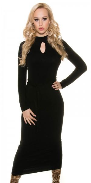 Trendy KouCla Feinstrick-Kleid mit sexy Einblick