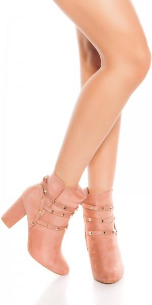 Trendy Stiefelette Blockabsatz mit Nieten