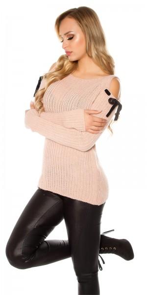 Trendy Cold Shoulder Grobstrick Mohair Pullover