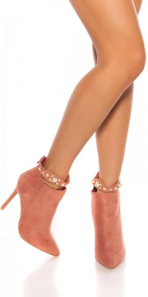 Sexy High Heel Stiefeletten mit Perlendeko
