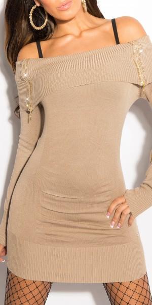 Sexy KouCla Strickkleid mit Zips