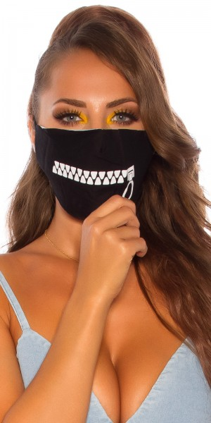 Trendy Maske mit Reißverschluss Print