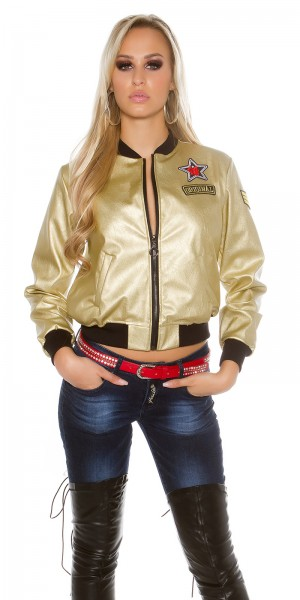 Sexy Bomberjacke in Lederlook mit Patches