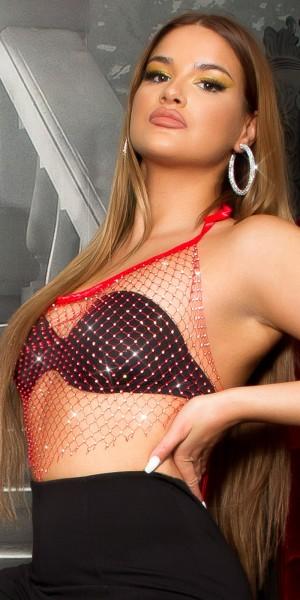 Sexy Koucla Netz Top mit Glitzersteinchen