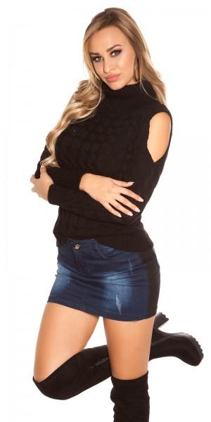 Trendy KouCla Cold Shoulder Pullover