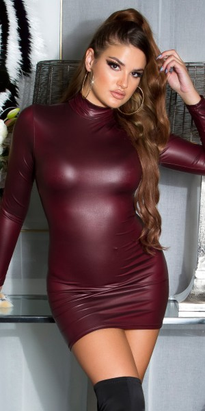 Sexy Koucla Wetlook gerafftes Kleid