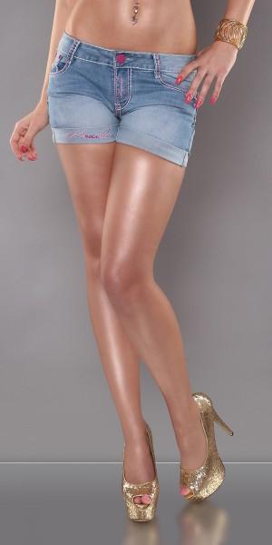 Sexy KouCla Jeansshorts mit farbigen Nähten