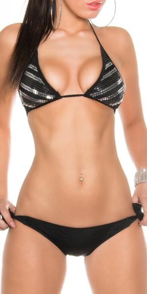 Sexy Neck-Bikini zum Schnüren m. Pailletten