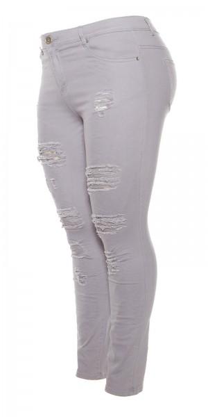Curvy Girls Size! Trendy Jeans mit Rissen & Spitze