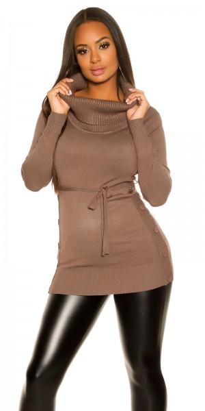 Trendy KouCla Strick-Kleid mit Knöpfen