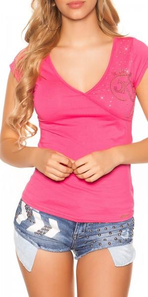 Sexy KouCla V-Neck T-Shirt mit Rissen