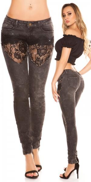 Sexy KouCla Skinny Jeans mit Spitze und Strass