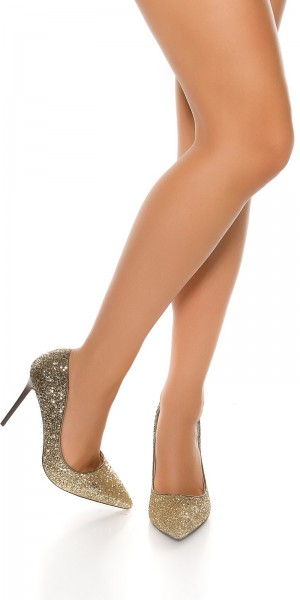 Sexy High Heel Glitzerpumps Bi-Color