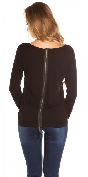 Sexy KouCla Feinstrick-Pullover mit Reißverschluss