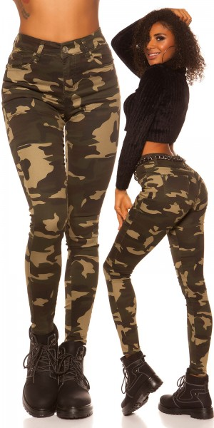 Sexy High Waist Skinny Jeans Camouflage