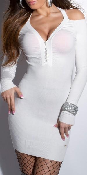 Sexy KouCla Feinstrick-Minikleid mit Strass