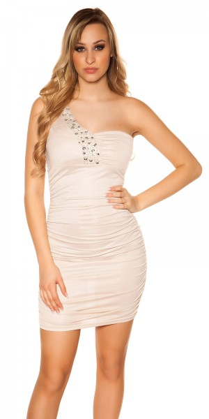 Sexy One-Shoulder-Minikleid mit Glitzersteinen