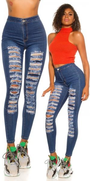 Sexy Skinny Highwaist Jeans Used Look mit Rissen