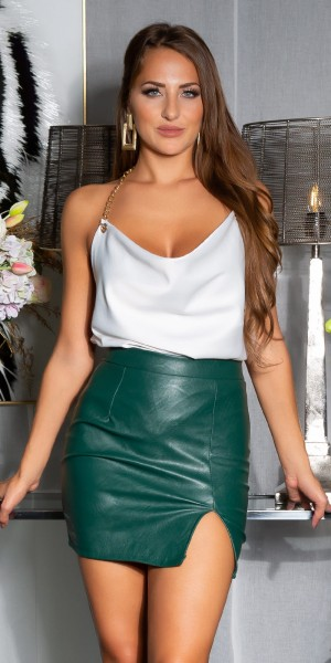 Sexy Satin Look Neck Top
