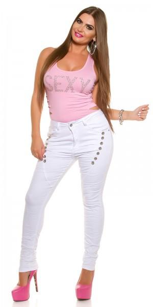 Curvy Girls Size! Sexy Jeans mit Dekoknöpfen