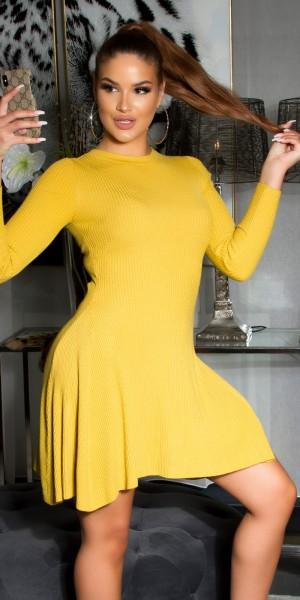 Sexy ausgestelltes Rippstrick Kleid