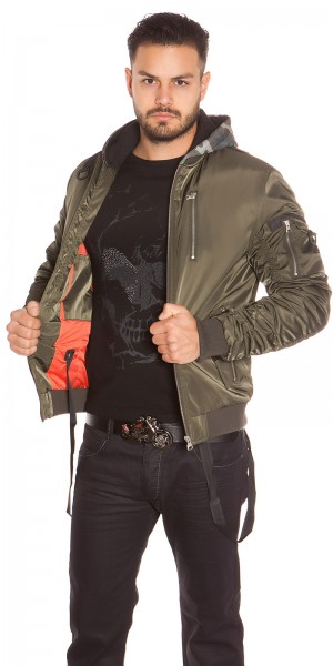 Trendy Männer Bomberjacke mit Kapuze