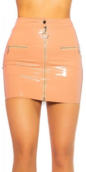 Sexy KouCla Lederlook Minirock mit Zip