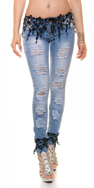 Sexy KouCla Skinny Jeans destroyed look + Spitze