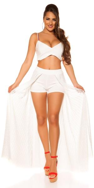 Sexy Shorts mit langem Netzrock