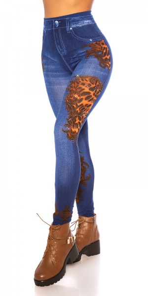 Sexy Leggings Jeans- Look mit Muster