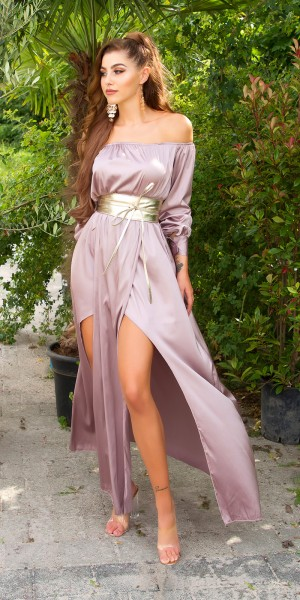 Sexy Koucla Satin-Look Maxikleid