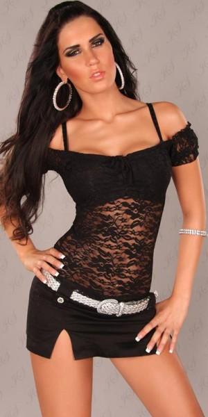Sexy Spitzen-Latina-Top mit Carmen-Ausschnitt
