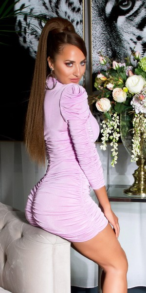 Sexy langarm Kleid mit Raffung