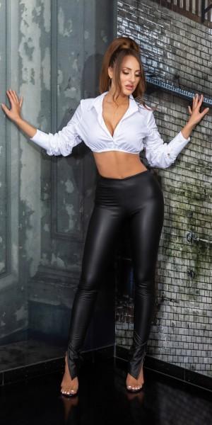 Sexy Kunstleder Hose mit Schlitz am Bein