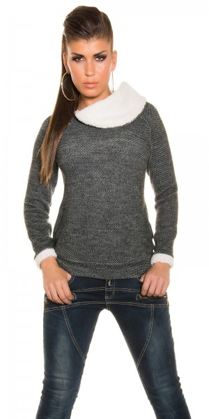 Trendy Koucla Pullover mit fake Fell