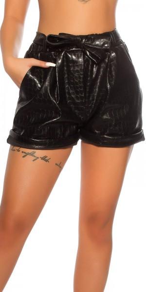 Sexy Shorts mit Schlangenlederoptik und Gürtel