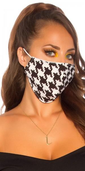 5 Stk Alltags/Stoffmasken mit Hahnentritt print