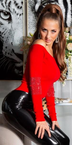 Sexy Carmen Ausschnitt Pulli mit Strass