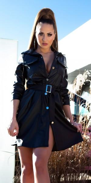 Sexy Lederlook Kleid mit Gürtel