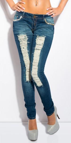 Sexy KouCla Skinny-Jeans mit Strass und Perlen