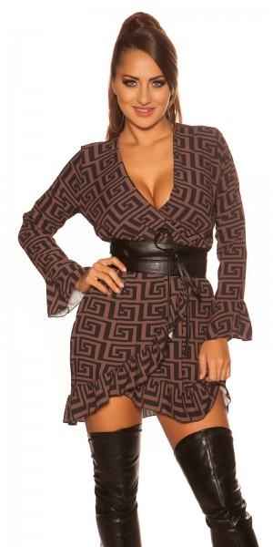 Sexy Kleid im Wickellook mit Volant & Muster