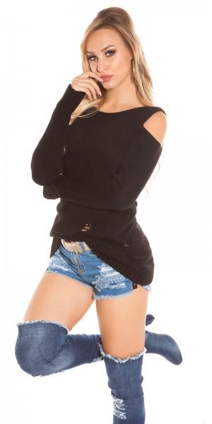 Trendy KouCla Cold Shoulder Pullover Used Look